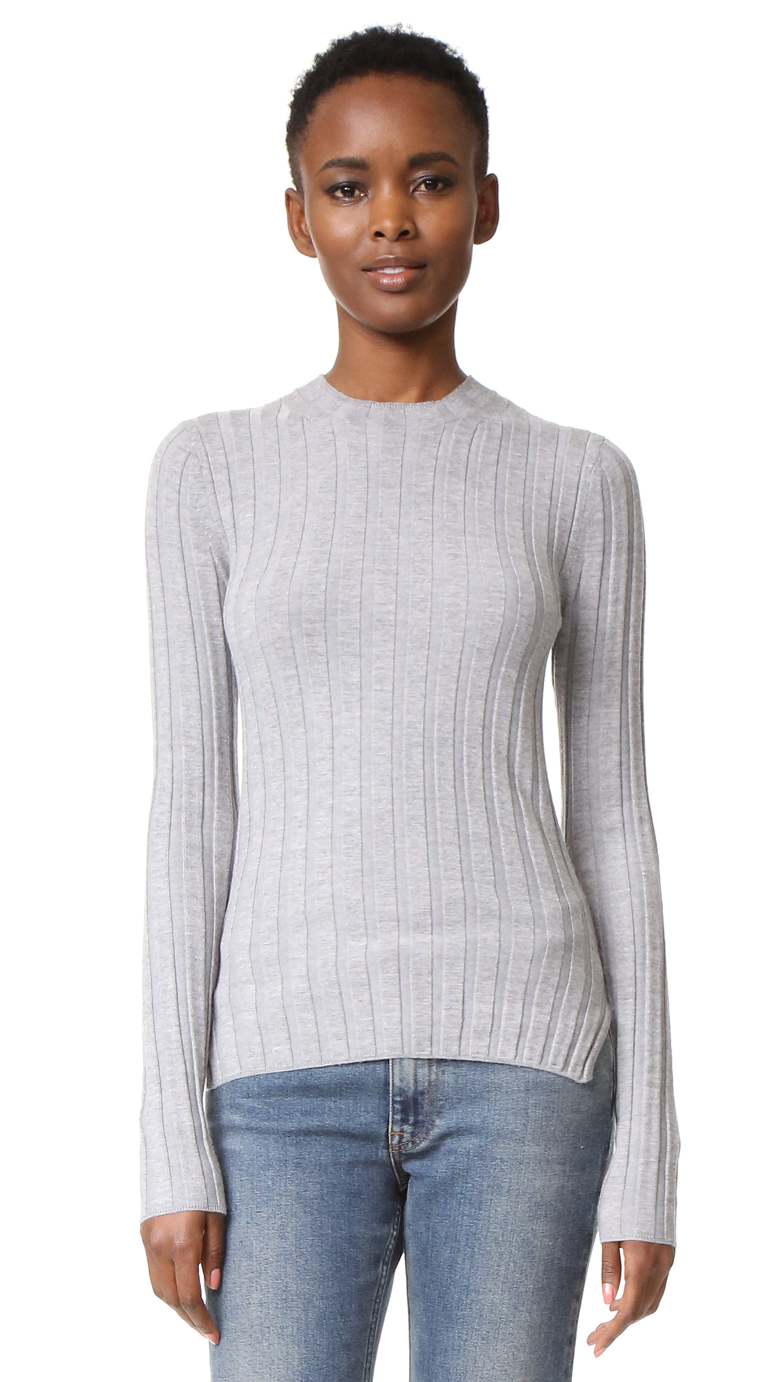 Acne Studios Carin Ribbed Merino Sweater - Silver Grey at Shopbop