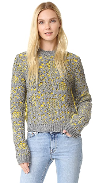Acne Studios Malea Stitch Sweater - Grey Melange/Yellow Fire at Shopbop