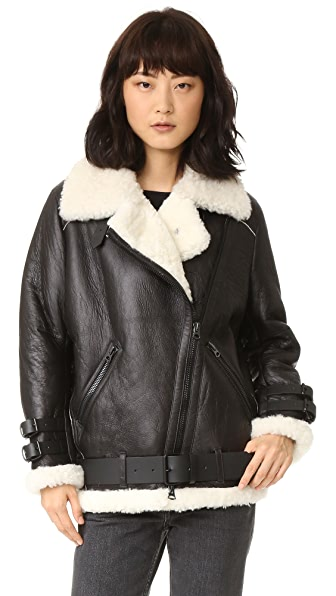 Acne Studios Velocite Shearling Moto Coat - Black/Off White at Shopbop