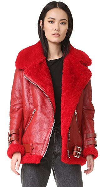 Acne Studios Velocite Shearling Moto Jacket - Red at Shopbop