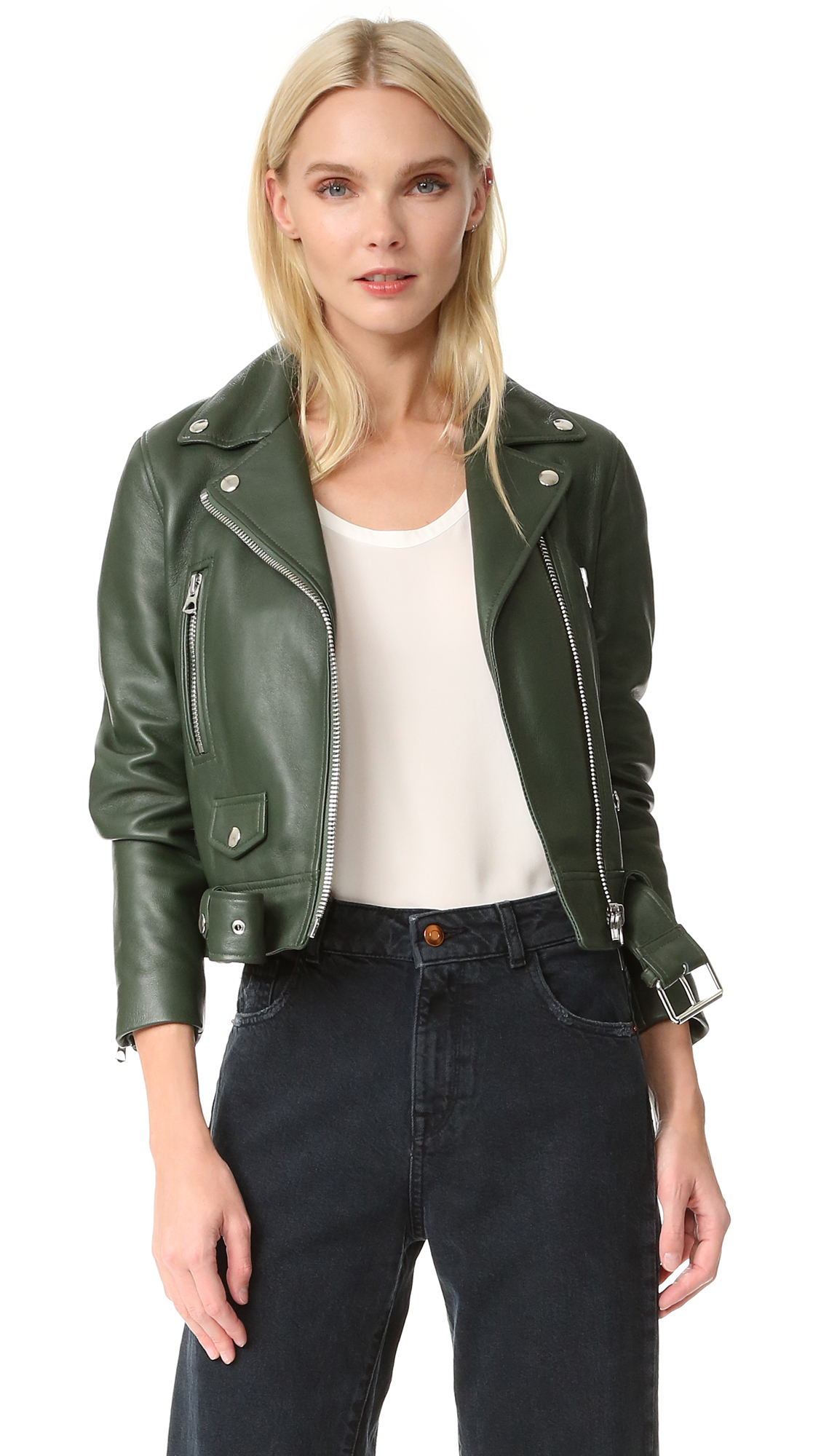 Acne Studios Mock Leather Moto Jacket - Forest Green at Shopbop