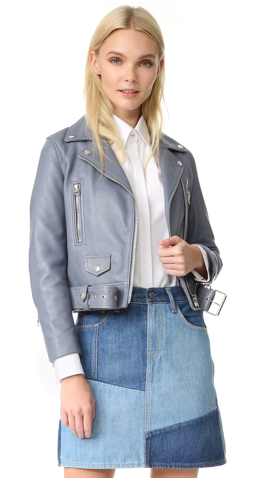 Acne Studios Mock Leather Moto Jacket - Dirty Slate Blue at Shopbop
