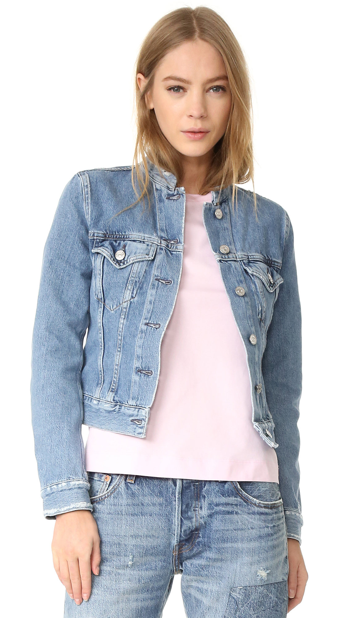 Acne Studios Top Frayed Denim Jacket - Indigo Fray at Shopbop