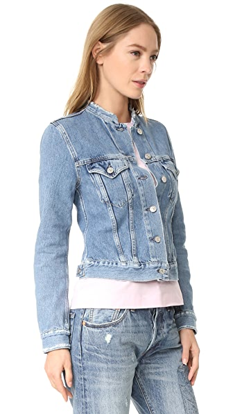 Acne Studios Top Frayed Denim Jacket - Indigo Fray