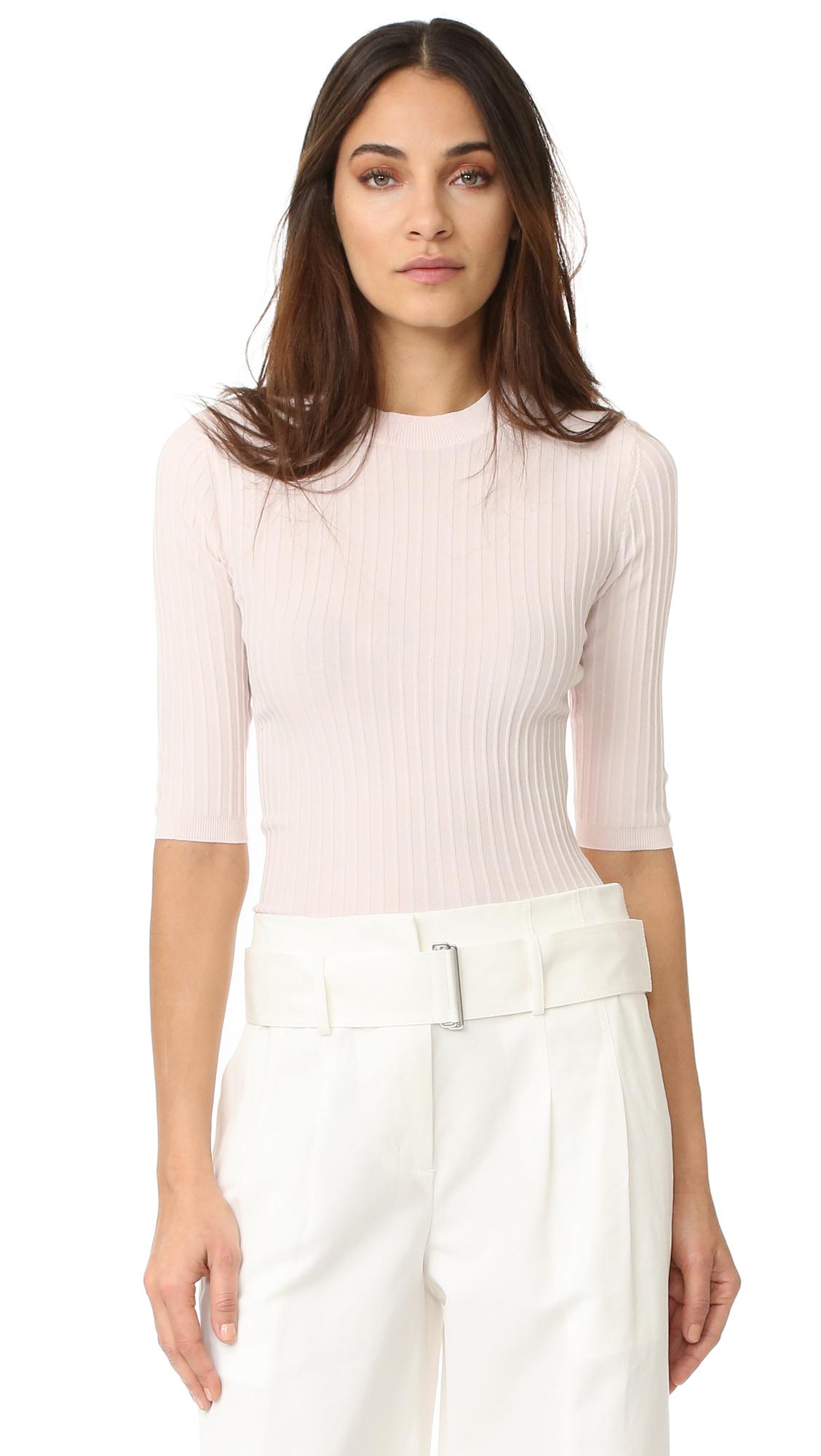 Acne Studios Iza Rib 3/4 Sleeve Sweater - Pale Pink at Shopbop