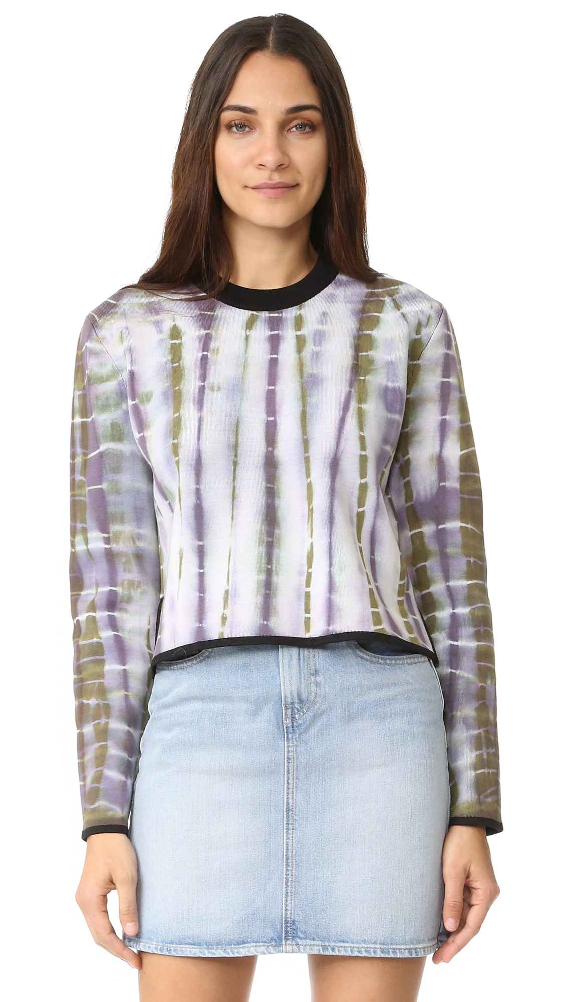 A tie dye Acne Studios sweater in a loose silhouette. Split hem. Contrast edges. Long sleeves. Fabric: Double knit. 55% cotton/45% nylon. Hand wash or dry clean. Imported, China. Measurements Length: 19.75in / 50cm, from shoulder Measurements from