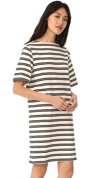 Acne Studios Dodora Stripes T-Shirt Dress - Ecru White/Navy