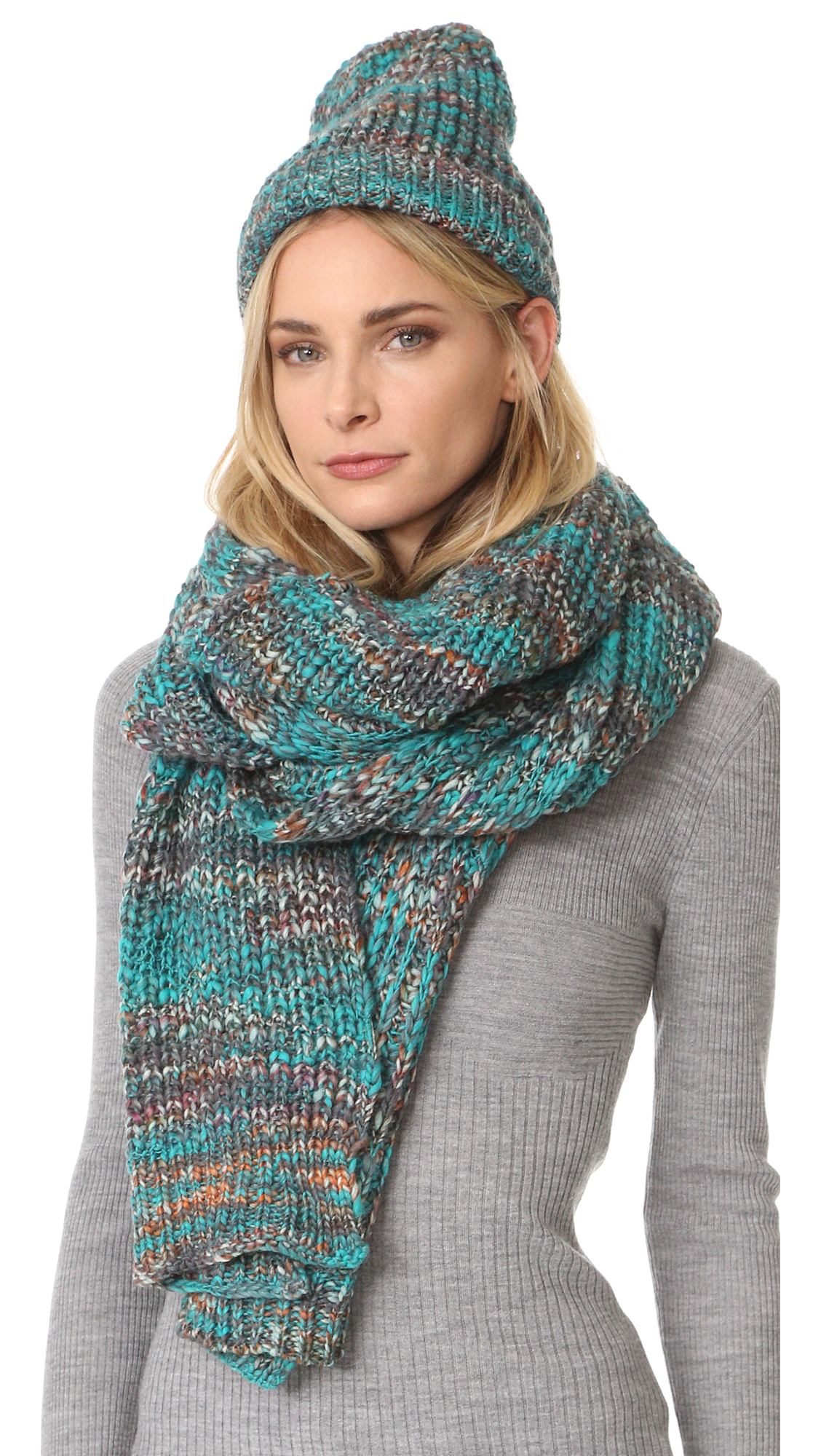 Acne Studios Zefir Multicolor Scarf - Turquoise Mix at Shopbop