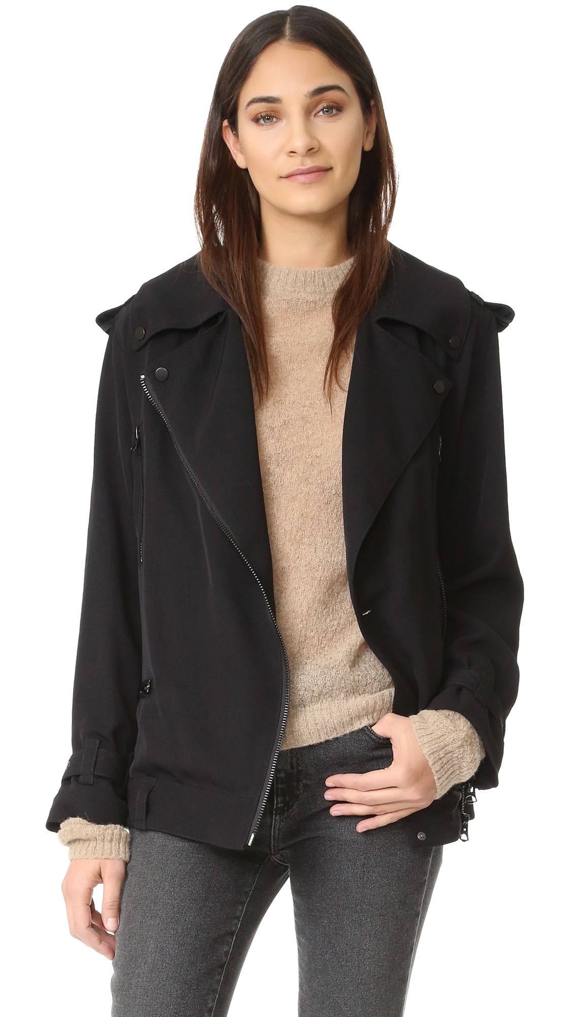 Acne Studios Lilja Moto Trench Jacket - Black at Shopbop