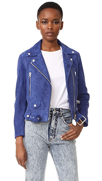 Acne Studios Suede Bomber Jacket - Dark Blue