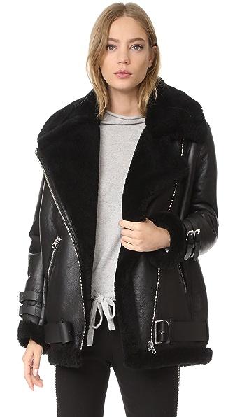 Acne Studios Velocite Shearling Moto Jacket - Black/Black