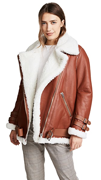 Acne Studios Velocite Shearling Moto Jacket In Nut Brown/White