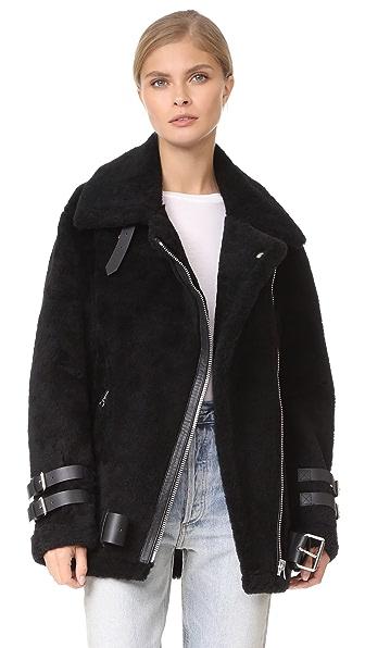 Acne Studios Velocite Shearling Moto Jacket - Black