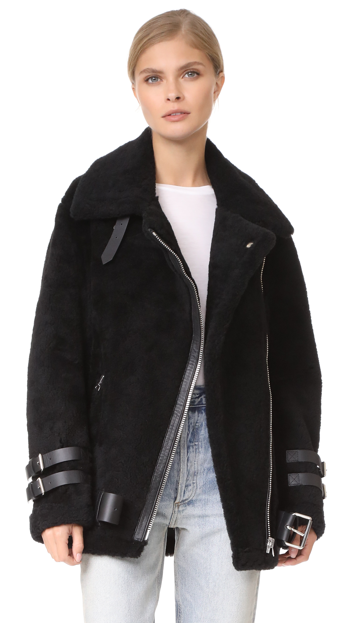 Photo of Acne Studios Velocite Shearling Moto Jacket online jackets sales