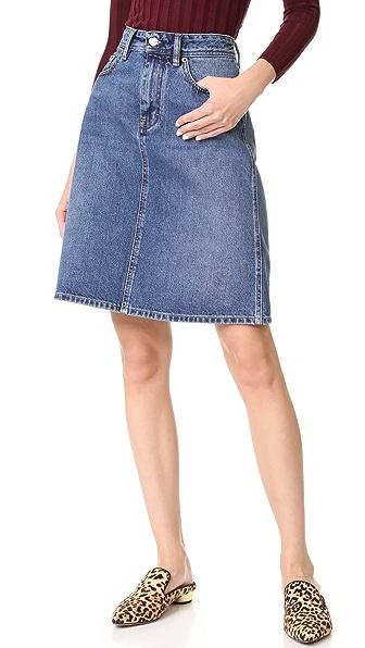 Acne Studios Shadow Denim Skirt In Mid Blue