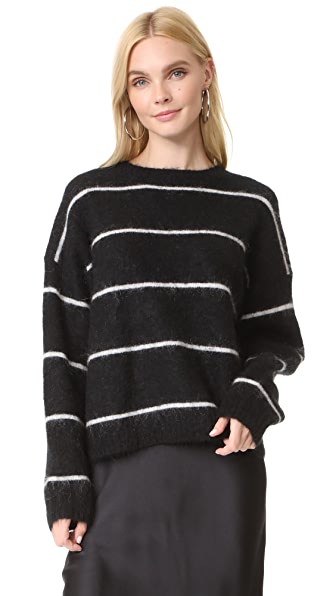 Acne Studios Rhira Mohair Sweater In Black/White Stripe