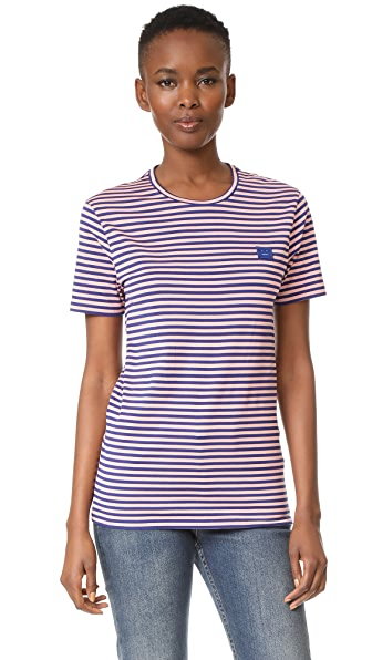 Acne Studios Napa Face Tee - Pale Pink/Royal Blue