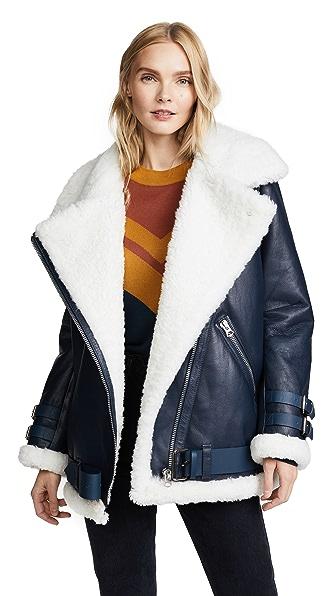 Acne Studios Velocite Leather Jacket In Denim Blue/Off White