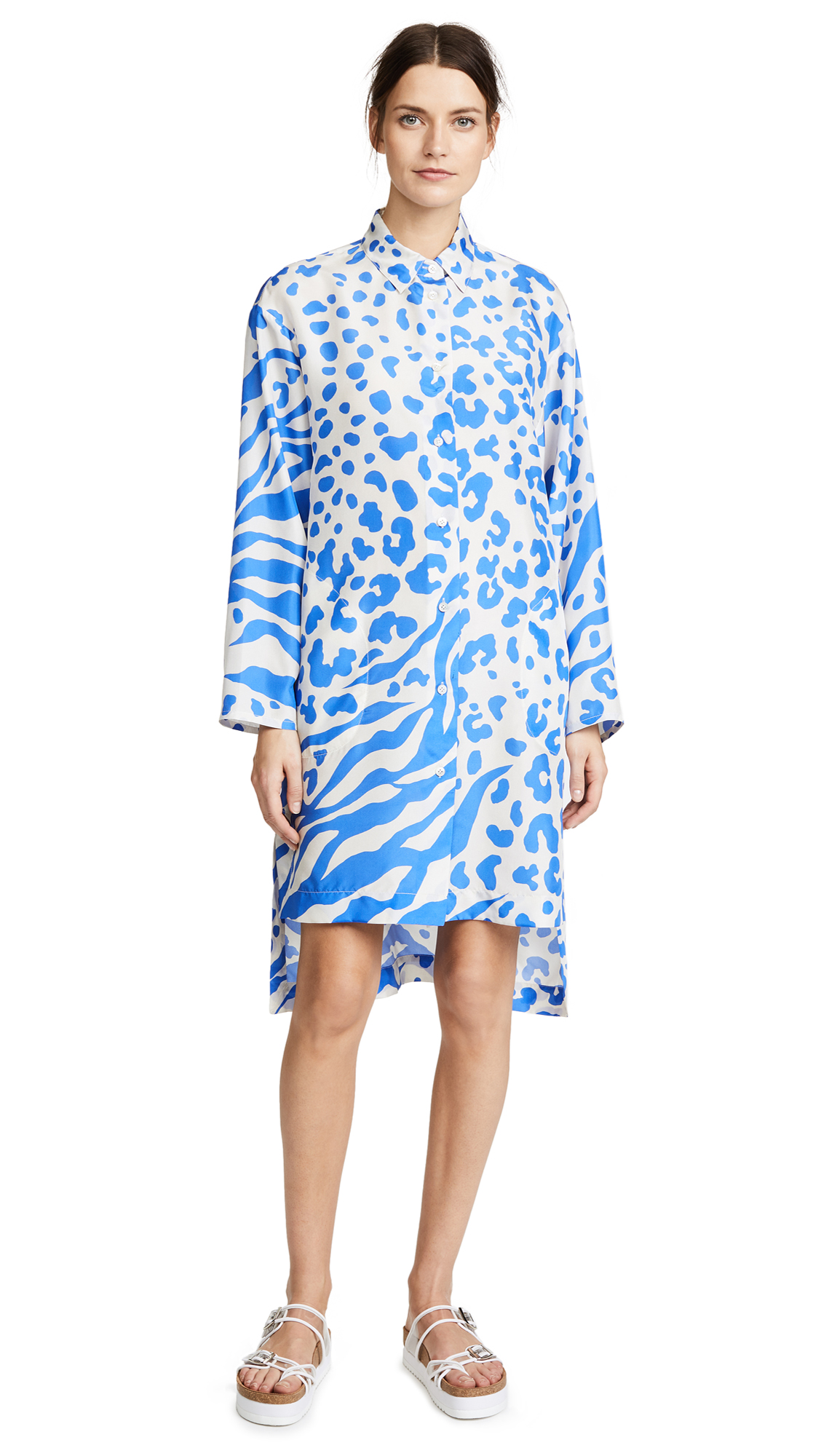 Acne Studios Jenia Silk Dress - Clay/Blue