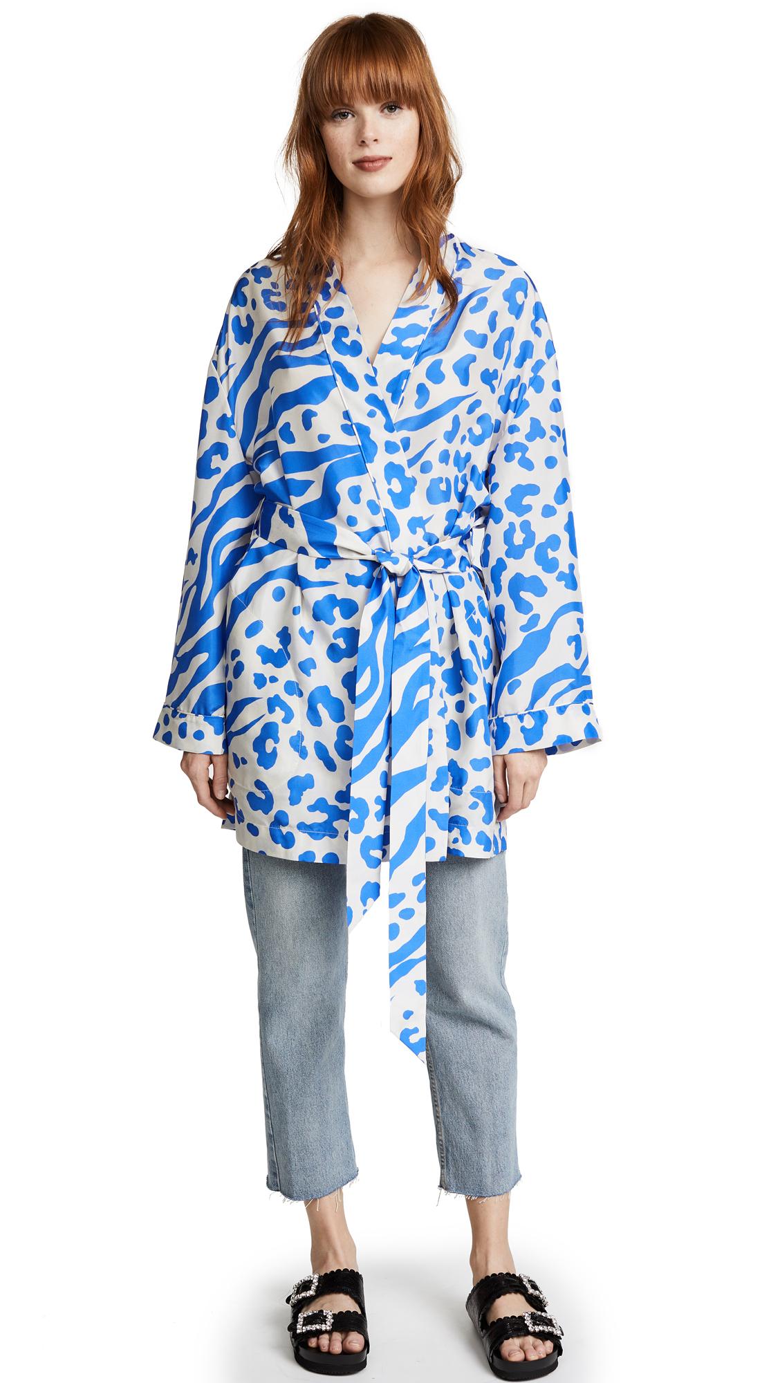 Acne Studios Jalone Silk Robe - Clay/Blue