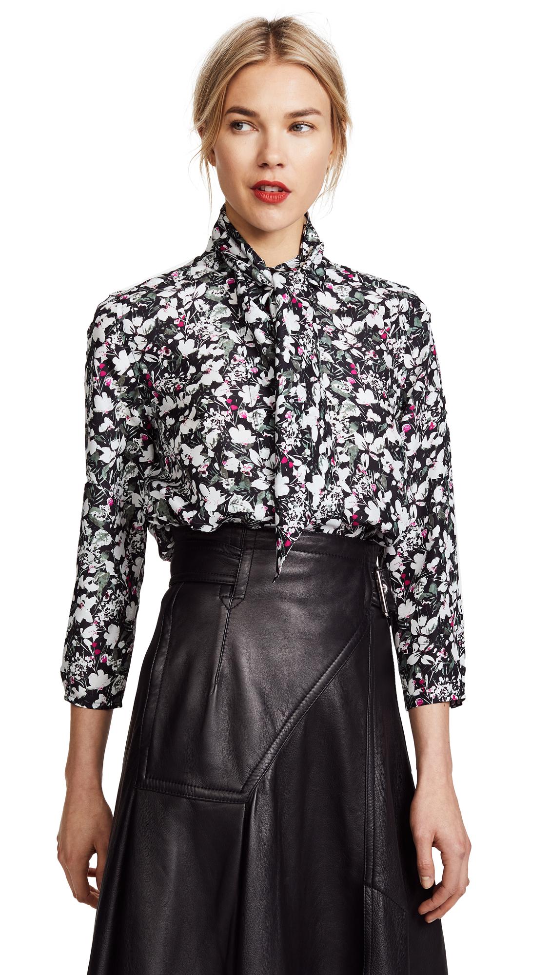 Acne Studios Bodil Silk Top - Flower Black