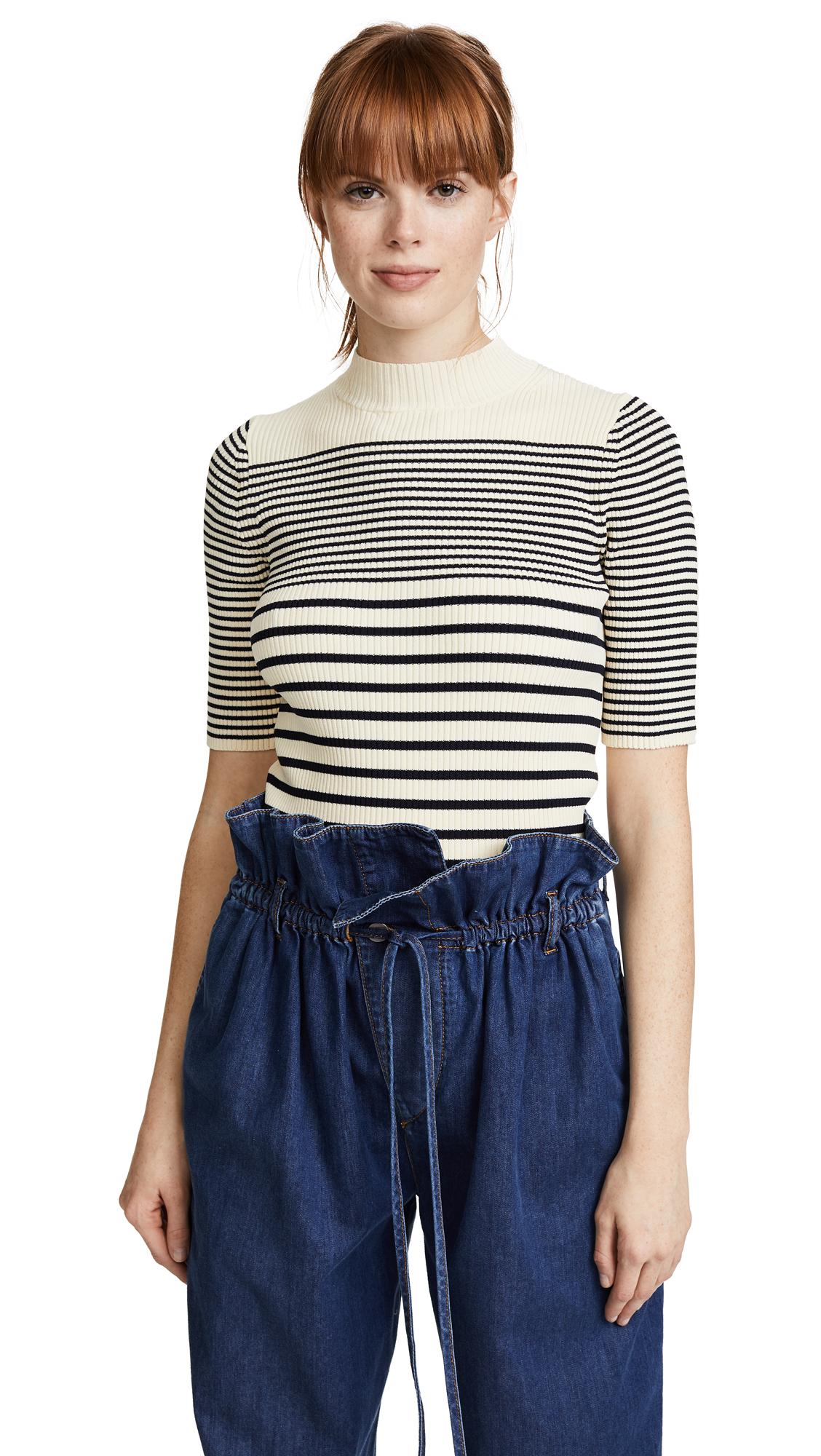 Acne Studios Winnie Stripe Sweater - Cream White/Midnight Blue