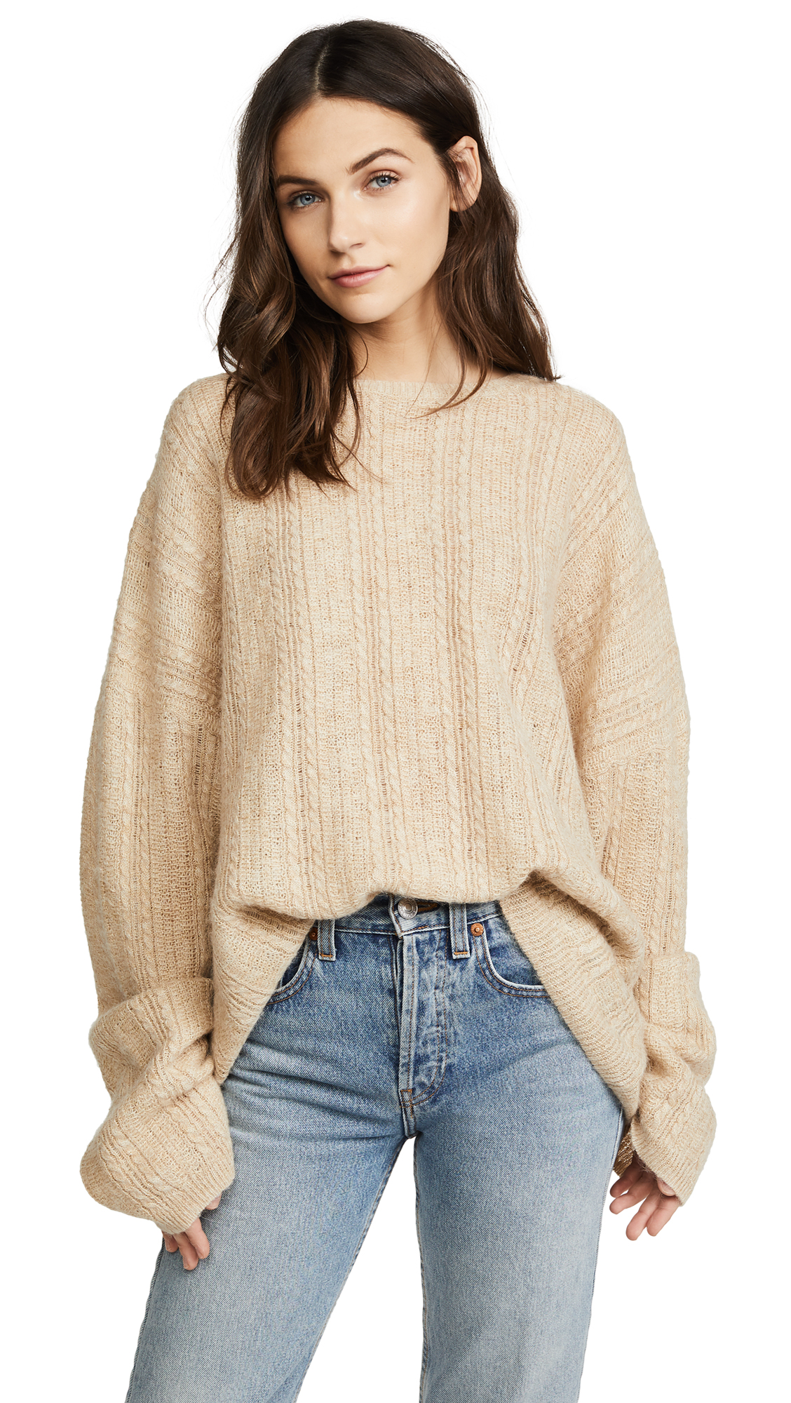 Acne Studios Theda Cable Sweater - Oatmeal Beige Melange