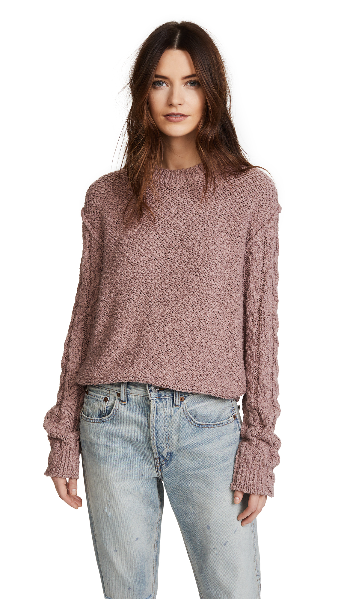 Acne Studios Hila Cable Sweater - Dusty Pink
