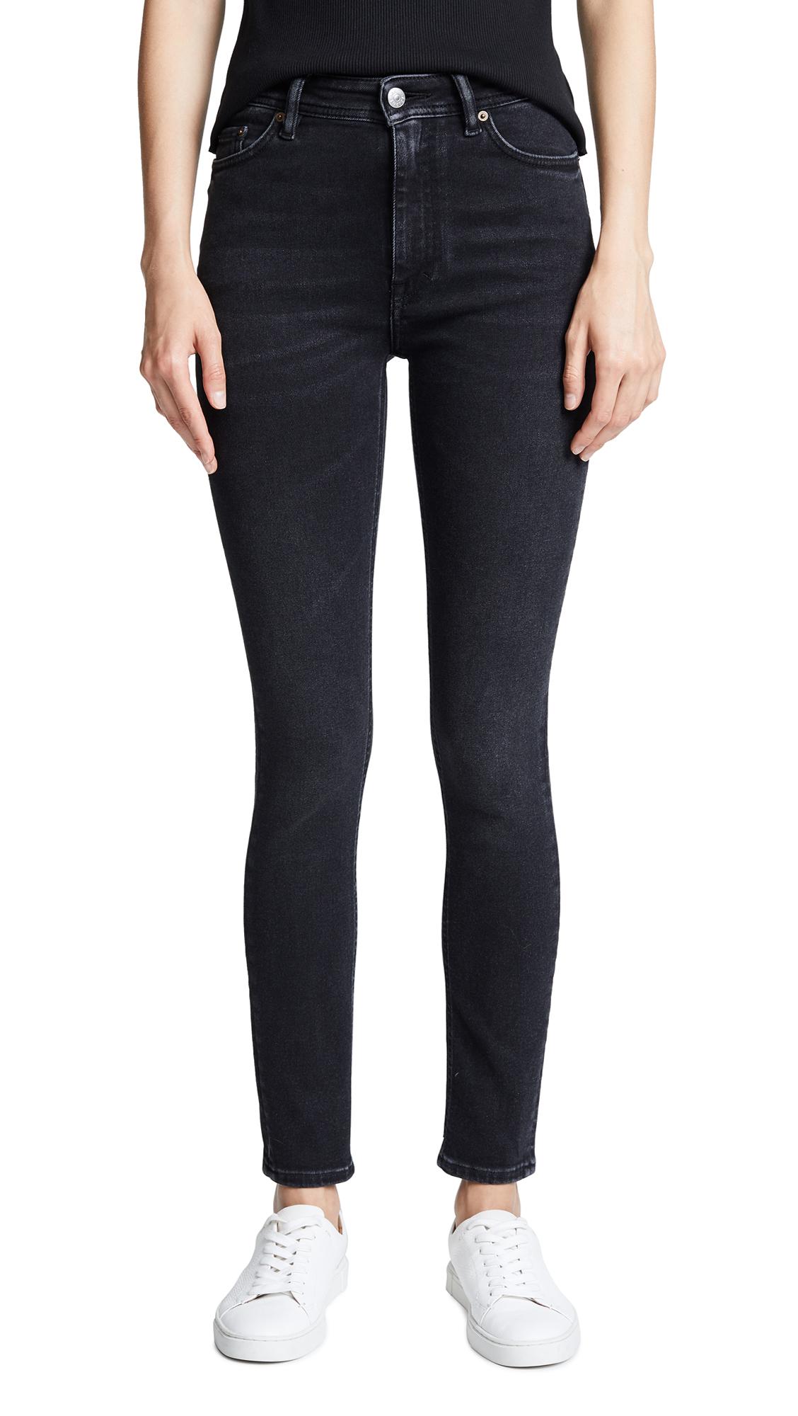 Blå Konst Peg High-Rise Skinny Jeans in Used Black