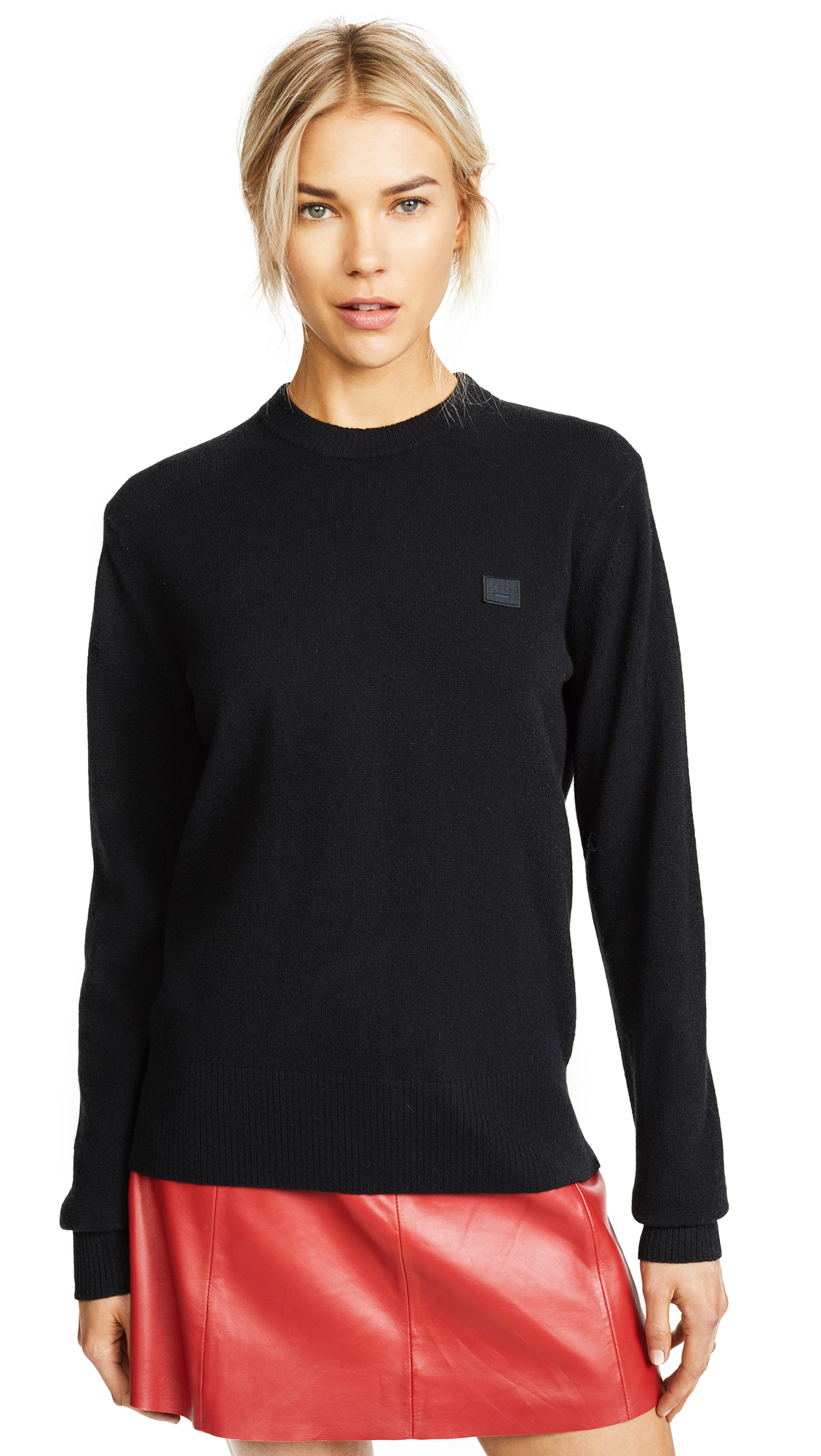 Nalon Face Embroidered Knit Sweater In Black