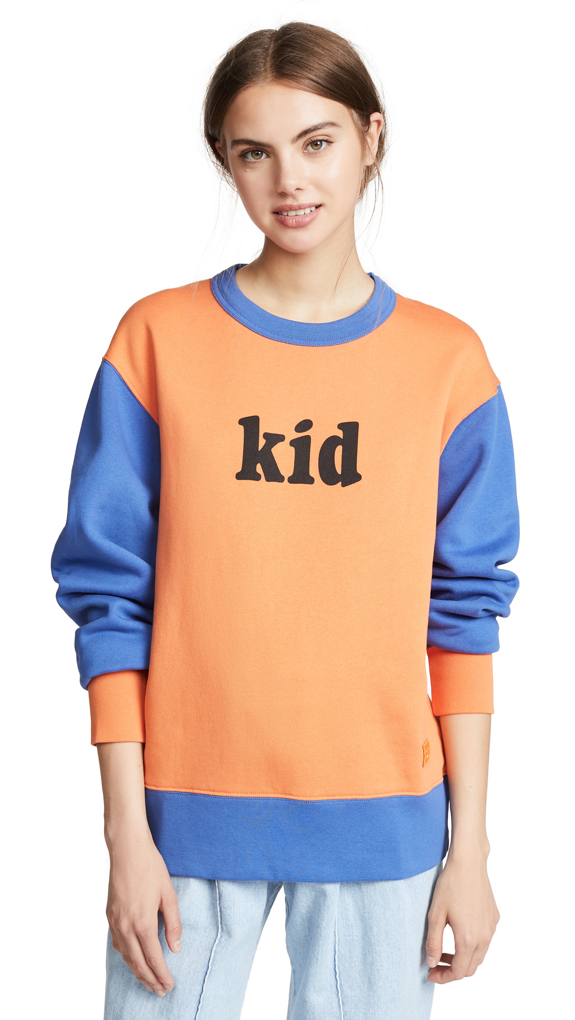 Acne Studios Contrast Sweatshirt In Orange/Blue