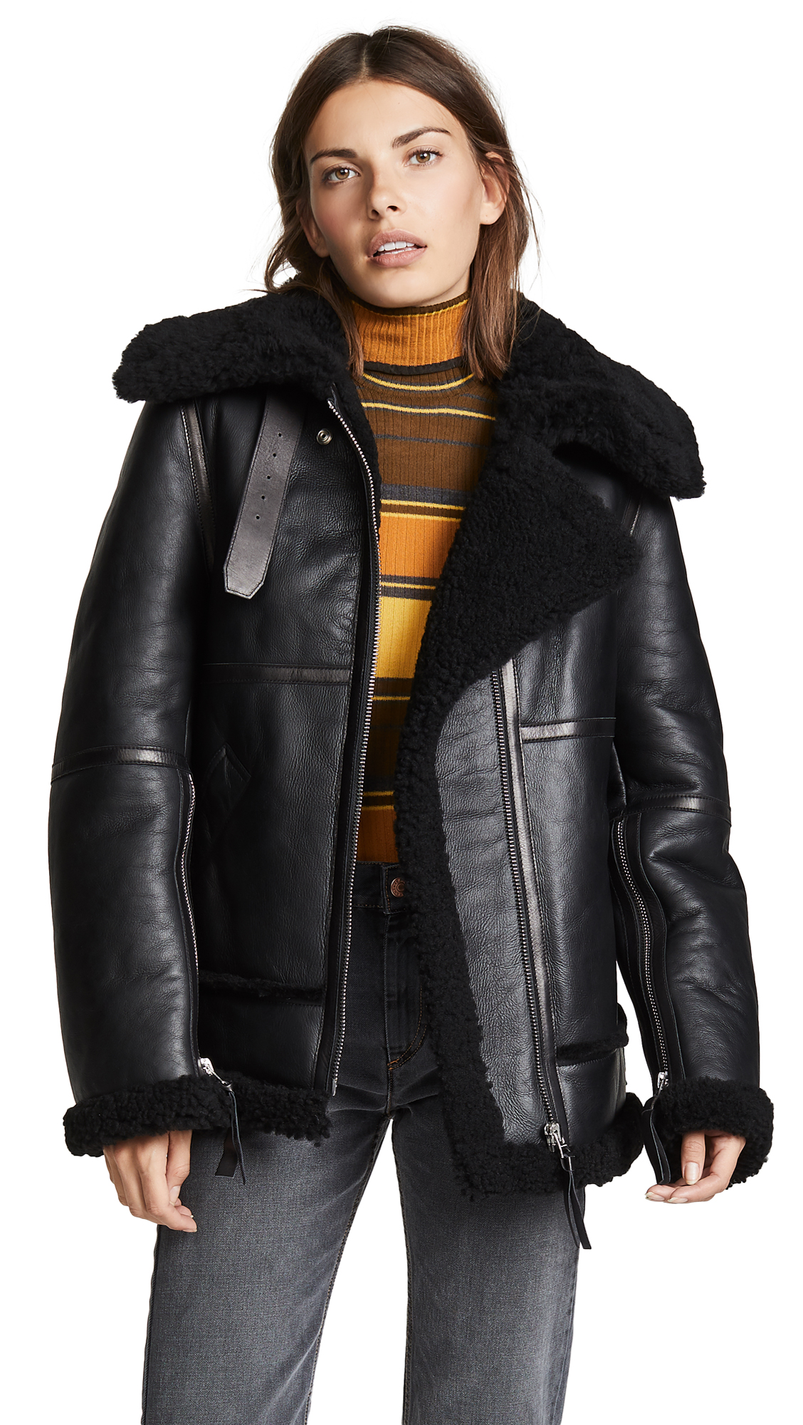Acne Studios Shearling Leather Jacket In Black/Black
