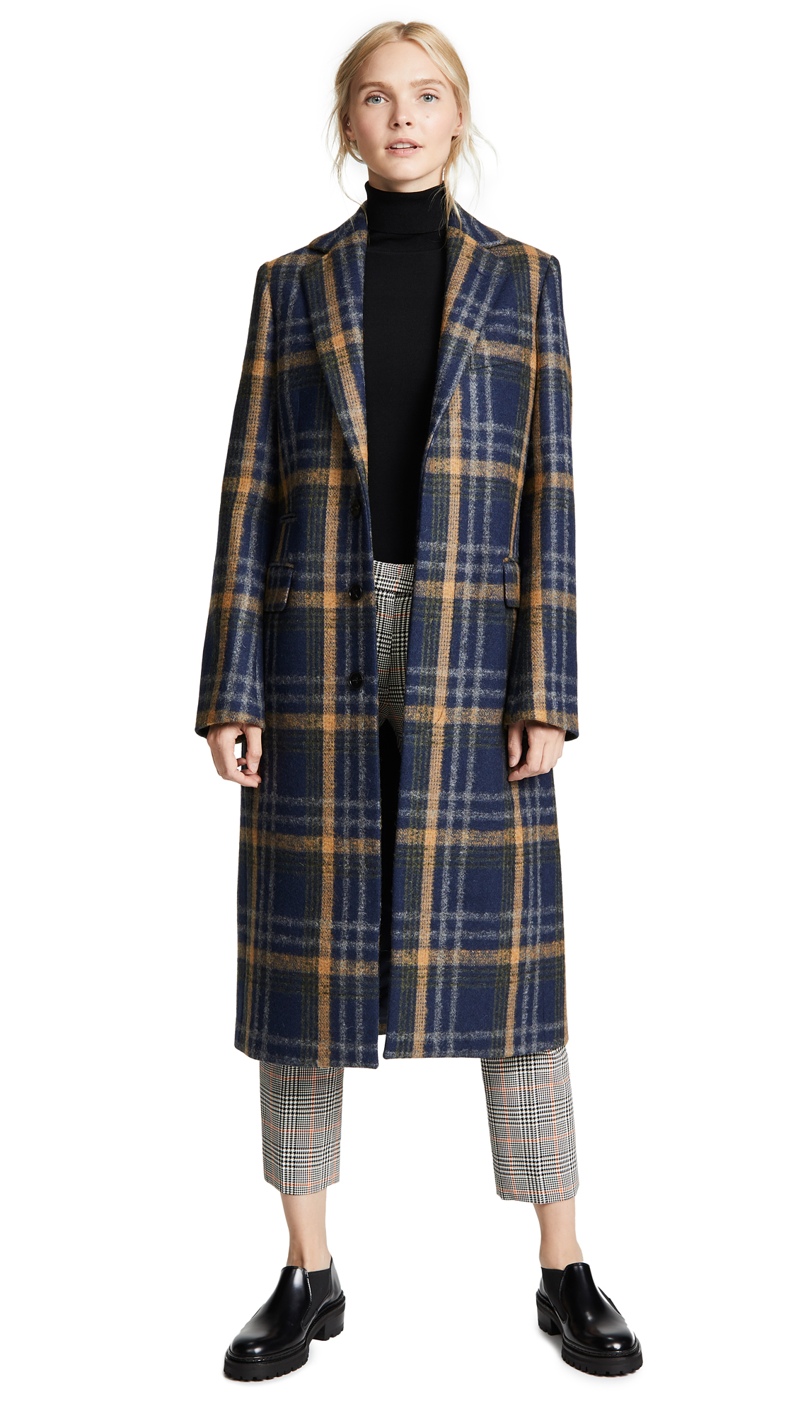 Acne Studios Plaid Long Coat In Blue/Brown
