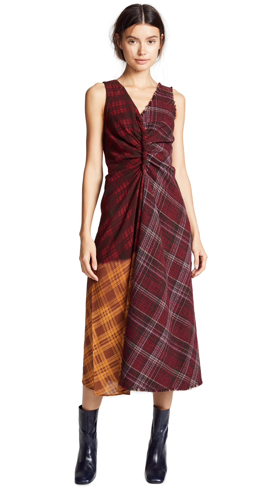 Acne Studios Mixed Media Drape Dress In Brown/Beige