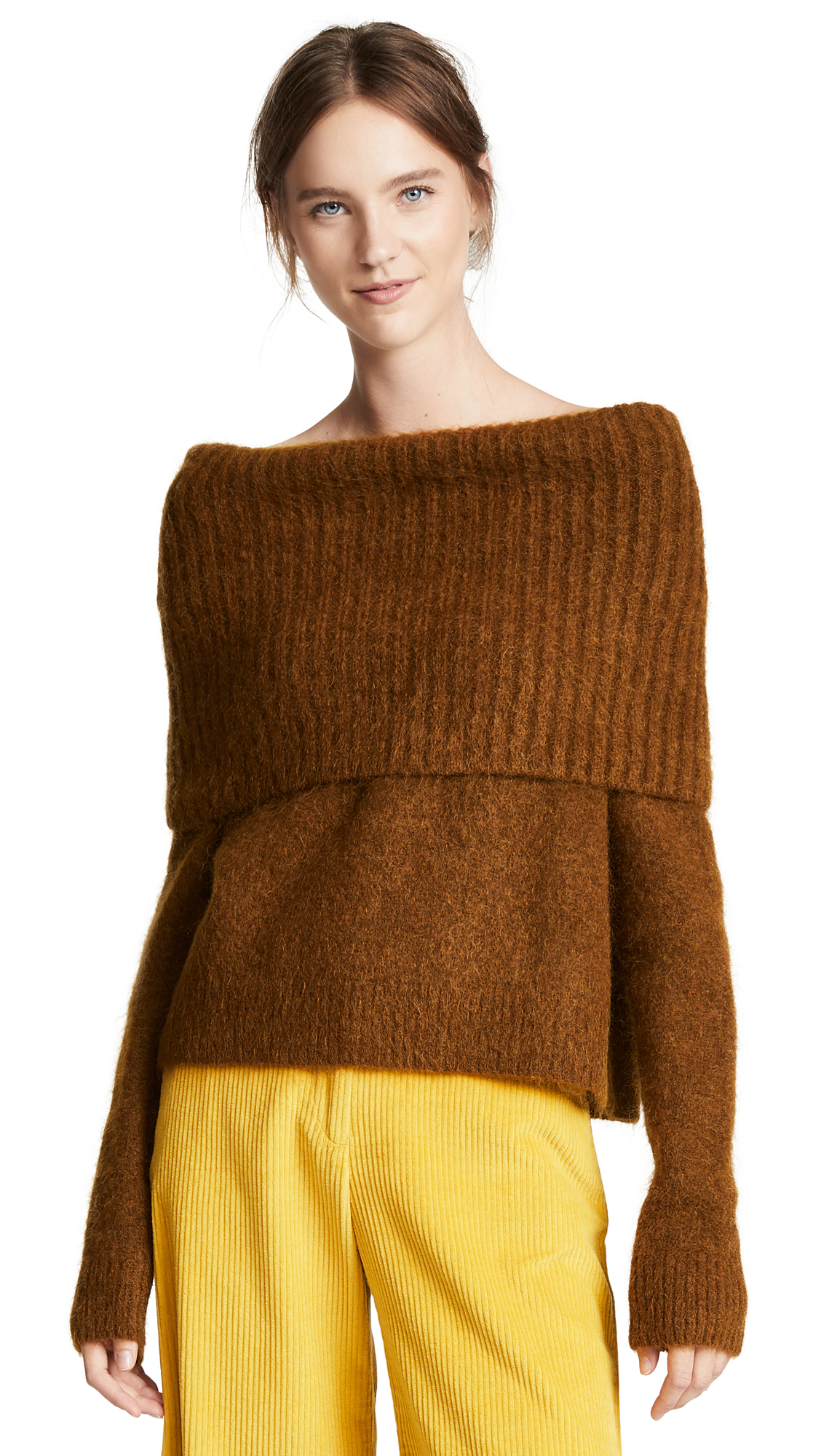Acne Studio Cropped Sweater in Cognac Brow