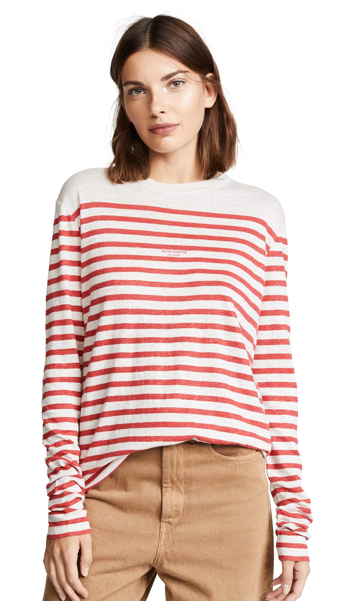 Acne Studios Striped Long Sleeve Tee - White/Red