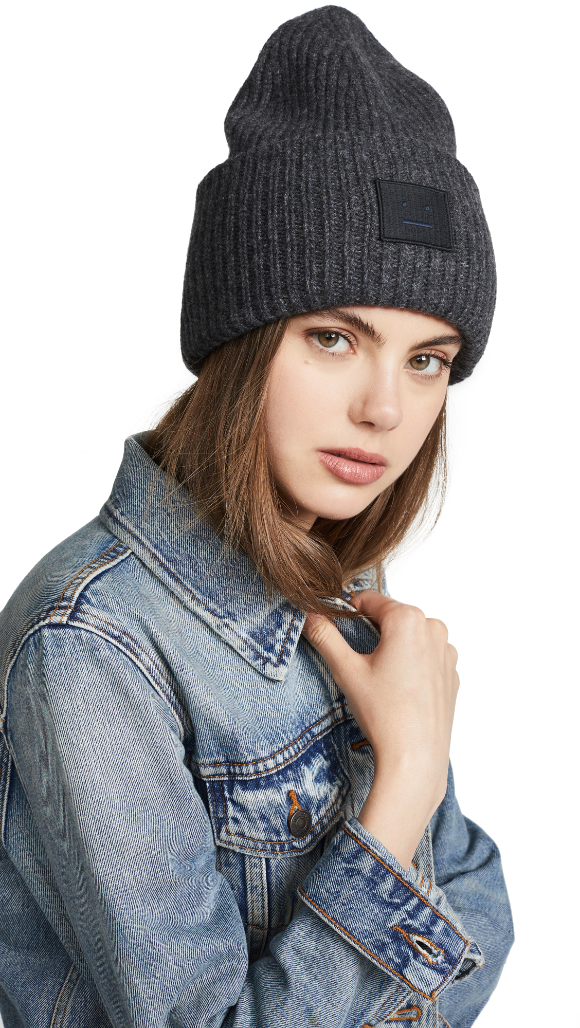 Acne Studios Pansy L Face Hat In Charcoal Melange