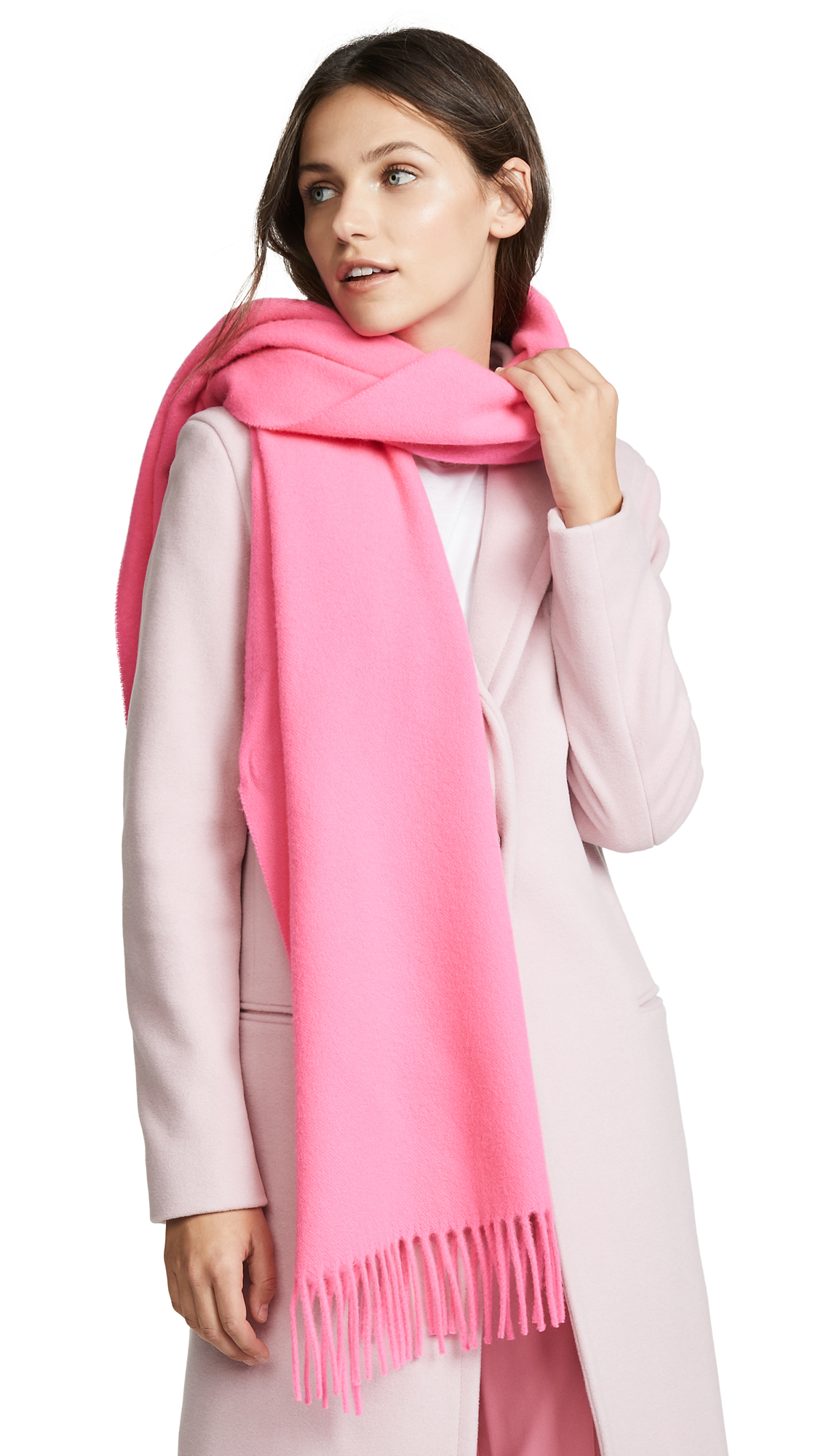 Canada Narrow Wool Scarf in Pink/Fluo Pink