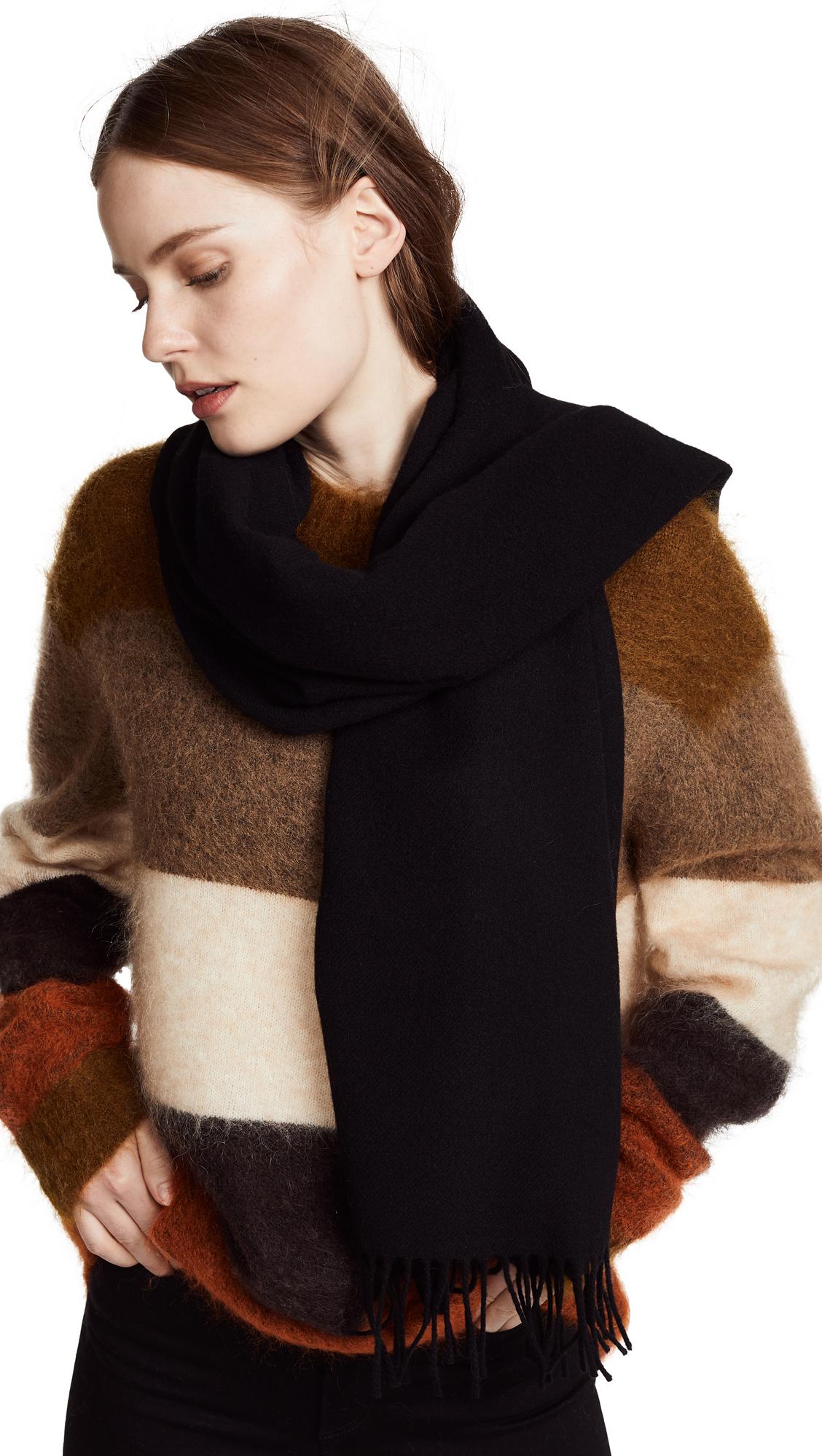 Acne Studios Canada Skinny Wool Scarf In Black