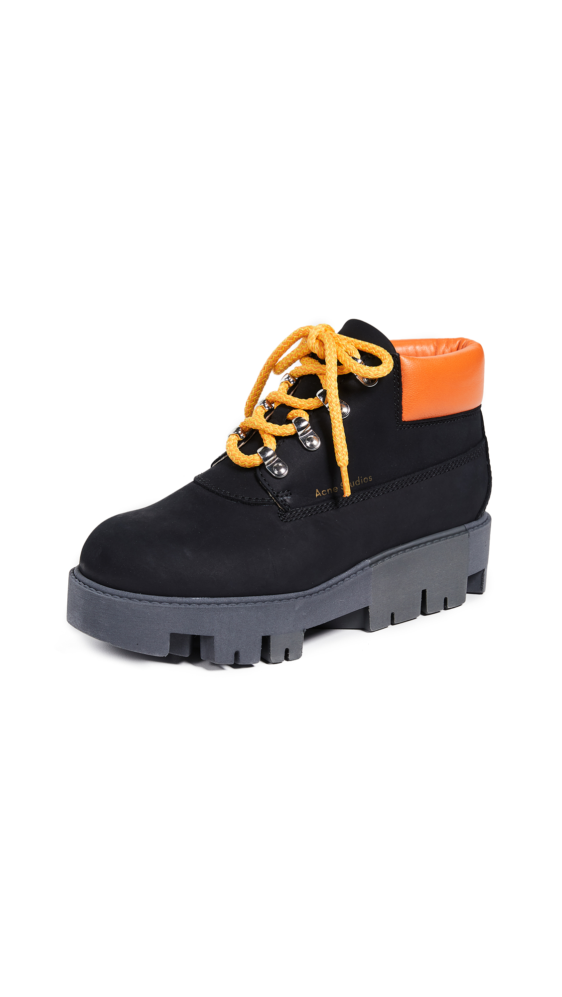 Acne Studios Tinne Contrast Hiker Boots - Black/Orange