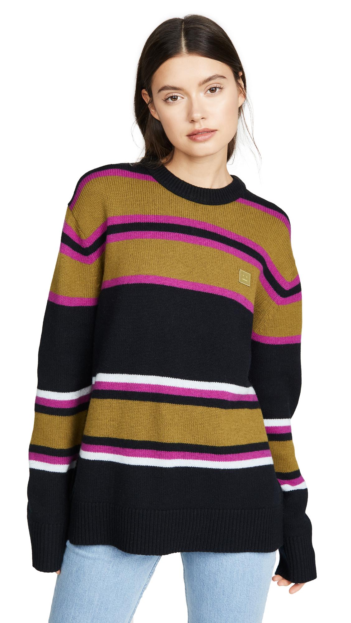Acne Studios Nimah Multicolor Stripe Face Sweater - Black Multicolor