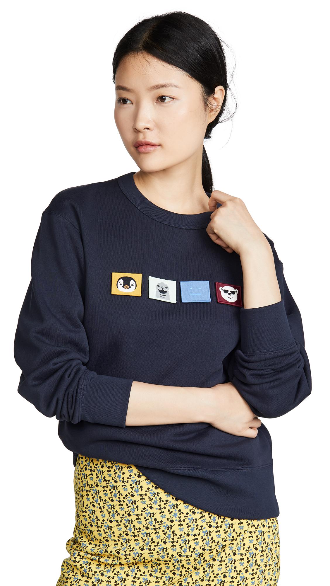 Acne Studios Faircro Animal Face Sweatshirts - Navy Blue