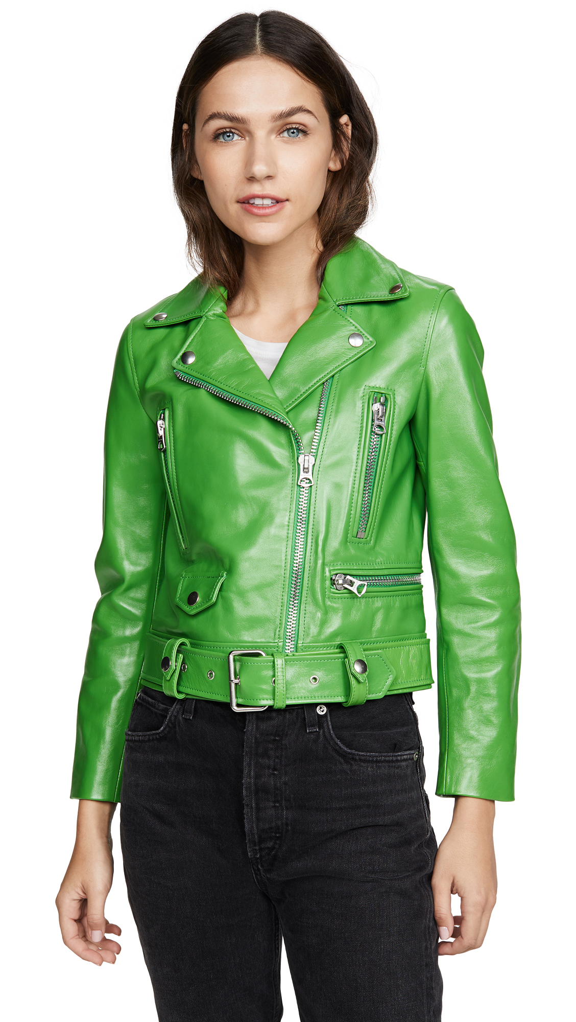 Acne Studios Mock Shiny Leather Jacket - Electric Green