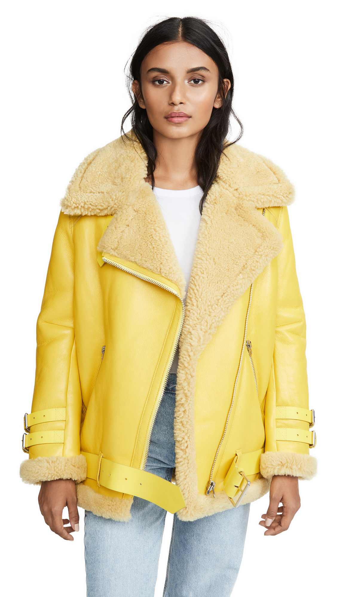Acne Studios Velocite Shiny Leather Outerwear - Bright Yellow/Blonde
