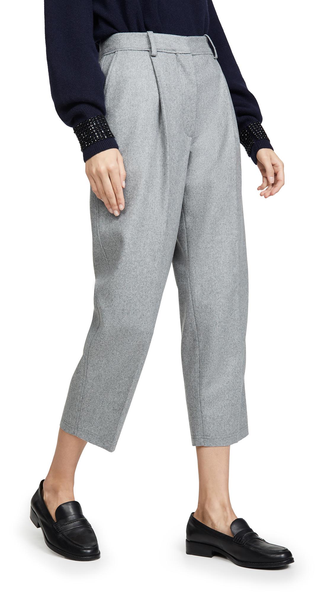 Acne Studios Flannel Trousers - Platinum Grey Melange