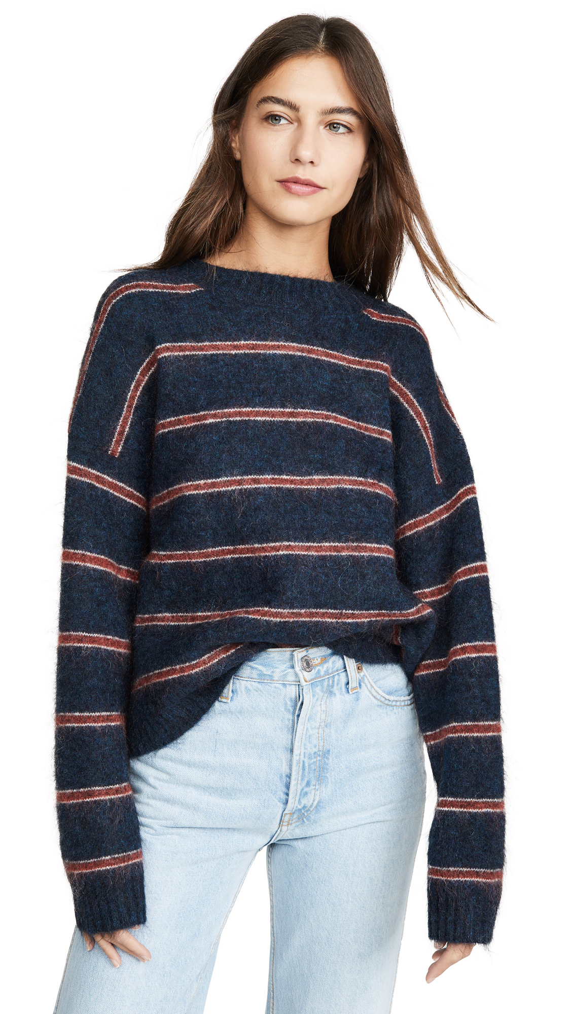 Acne Studios Khira Moh Knitwear Sweater - Petrol/Red