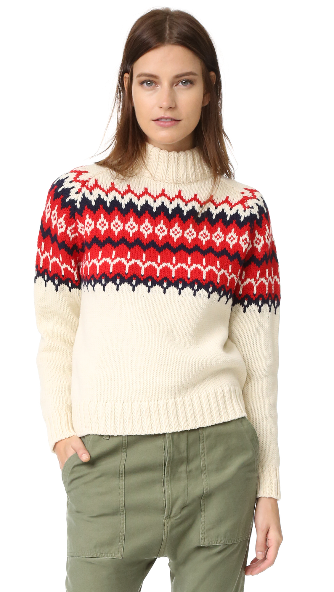 &Daughter Fair Isle Knit Sweater - Ecru/Red at Shopbop