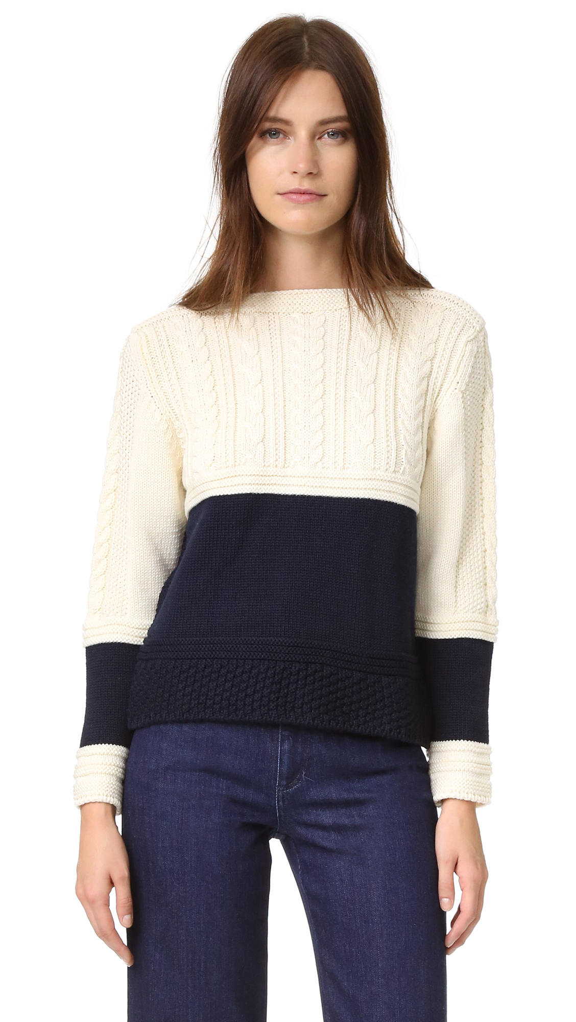&Daughter Cropped Guernsey Sweater - Ecru/Navy at Shopbop