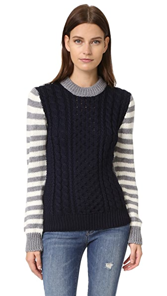 &Daughter Stripe Sleeve Aran Sweater - Navy/Grey at Shopbop