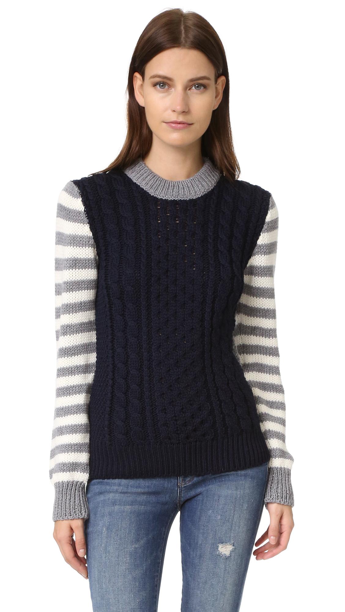 &Daughter Stripe Sleeve Aran Sweater - Navy/Grey at Shopbop